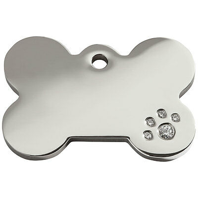 Engraved Personalised Dog ID Tags / discs: Diamante Bone by Red Dingo (8BN)