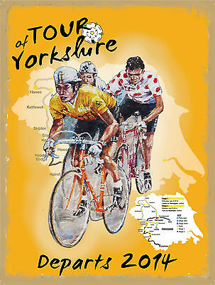 Cycle Road Race, Tour of yorkshire, Cycling, Bike, Small Metal Tin Sign, Picture