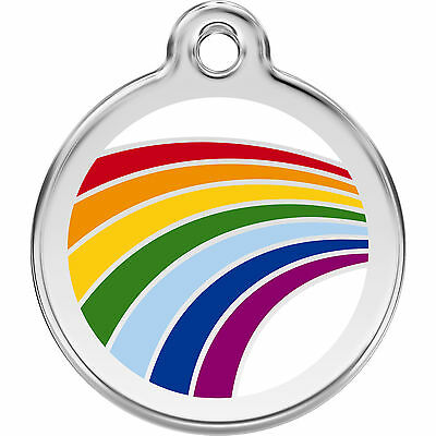 Engraved Personalised Dog / Cat ID identity Tags / discs Rainbow Red Dingo (1RA)