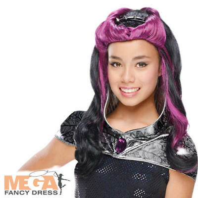 Raven Queen Wig Girls Fancy Dress Ever After High Kids Childs Costume Accessory