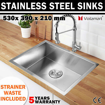 500x416mm Commercial Stainless Steel Ktichen Sink Laundry Topmount Undermount