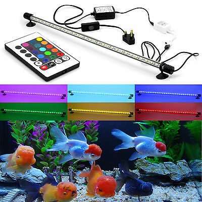 5050 RGB Remote Color Aquariums Fish Tank Submersible SMD LED Light Bar Lamp