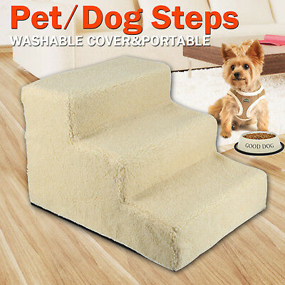 Pet Dog 3 Steps Ladder Doggy Stairs Ramp Cat Washable Soft Plush Cover Portable