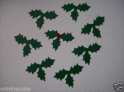 40 TRIPLE HOLLY LEAF christmas die cuts - JUST ADD BERRIES