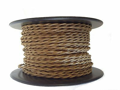 Bronze Twisted Rayon Covered Wire, Antique Style Cloth Lamp Cord, Vintage Lights
