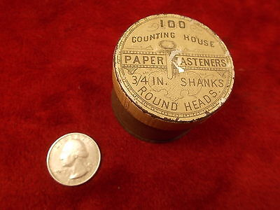 """#3 of 3, OLD VTG ANTIQUE """"COUNTING HOUSE"""" BRAND PAPER FASTENERS TIN, VG COND"""