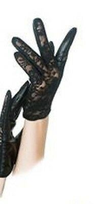 LACE LEATHER Party Opera Gloves Costume Gothic Punk Burlesque Cocktail- Black