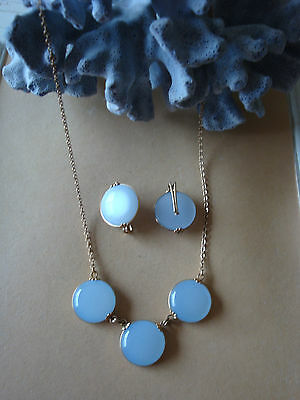 Vintage Necklace Set Moonglow Plastic Gold Wire Wrap Baby Blue Collar & Earrings