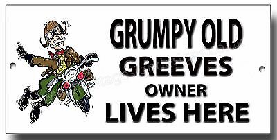Grumpy Old Greeves Owner Lives Here Enamelled Finish Metal Sign.