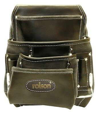 Professional Large Nail Tool Pouch Belt Oiled Top Grain Leather 6 Pockets Hammer