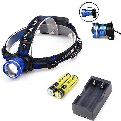CREE XM-L T6 2000 LM Adjustable LED Headlight Head Light Lamp+Battery&Charger