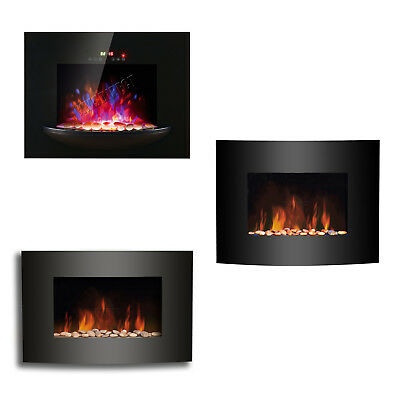 LED Flame Effect Wall Mounted Electric Fire Fireplace Black Curved Glass Heater