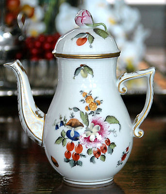 Herend China Porcelain Fruits & Flowers Small Coffee Chocolate Pot 475 BFR