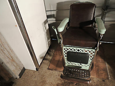 Antique Emil J. Paidar Barber Chair From The 1930's. Custom Upholstery