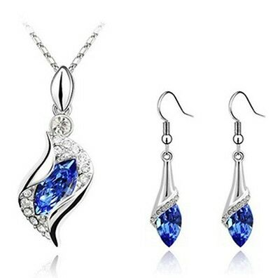 Hot Jewelry Set Royal Blue Crystal Wedding Women Silver Plated Necklace Earrings