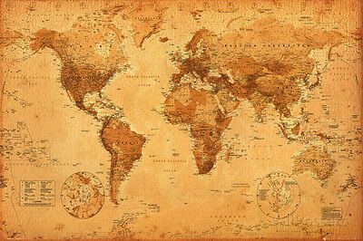World Map Poster Print, 36x24