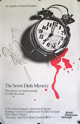 Original Vintage Poster Agatha Christie The Seven Dials Mystery 1980s PBS Clock