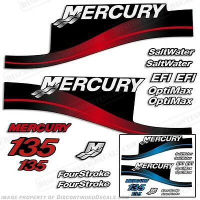 Mercury 135hp Outboard Decal Kit 135 Blue or Red 1999-2004 -All Models Available