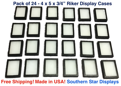 24 Pack of Riker Display Cases  4 x 5 x 3/4 for Collectibles Arrowheads & More