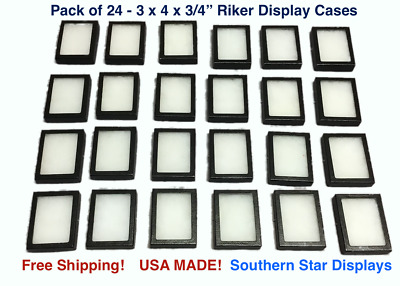 24 Pack of Riker Display Cases  3 x 4 x 3/4 for Collectibles, Arrowheads & More