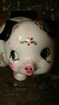 vintage Japan Pottery Pig Figural Coin Bank Piggy Bank Hand Painted Flowers 090