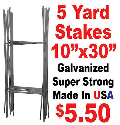 """5 Full Size """"H"""" Wire Step Stakes - Yard Sign Wire Stands - Political Campaigns"""