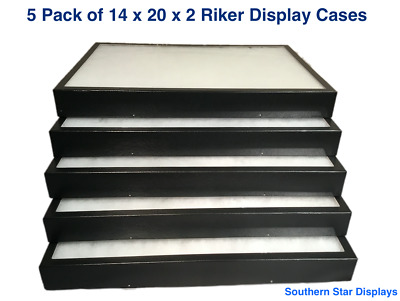 5 Pack of Riker Display Cases 14 x 20 x 2 for Collectibles Arrowheads & More