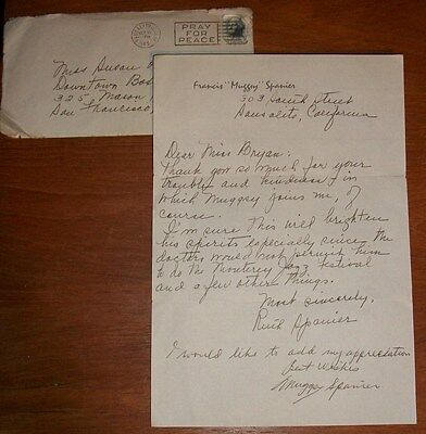 Signed Hand-written Letter by Jazz Legend Francis MUGGSY SPANIER & wife Ruth