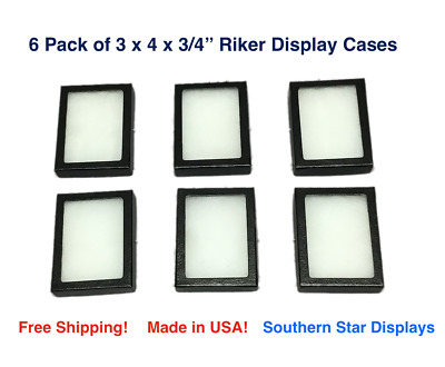 6 Pack of Riker Display Cases  3 x 4 x 3/4 for Collectibles Jewelry & More