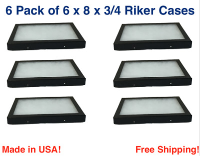 6 Pack of Riker Display Cases  6 x 8 x 3/4 for Collectibles Jewelry & More