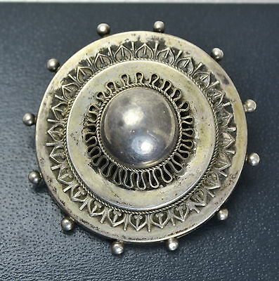 Victorian Solid Silver LOCKET BACKED Tiered Target Ornate BROOCH - Antique Pin