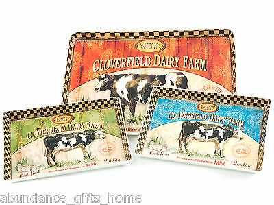 Cloverfield Dairy Farm Cow Distressed Country Nested Serving Trays Set/ 3 *NEW*