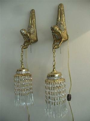 VINTAGE ART DECO LADY JEWELED GOLD BRASS & SPELTER CRYSTAL WALL LAMP SCONCE PAIR