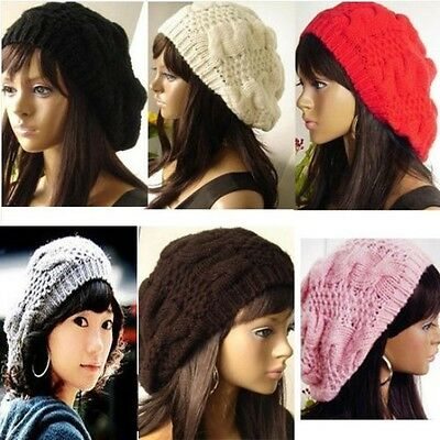 New Chic Warm Winter Women Beret Braided Baggy Knit Crochet Beanie Hat Ski Cap O