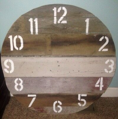 Rustic Large Natural Barn Wood WALL CLOCK Round NEW