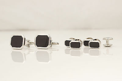 SET Cufflinks and Studs - silver colour & black stone - rectangle head