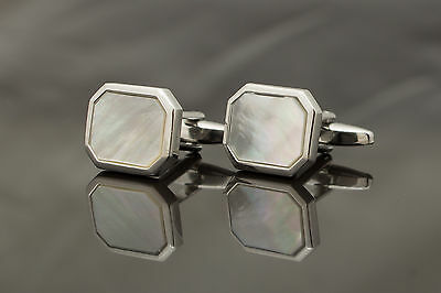 Pair of Cufflinks - silver colour & mother of pearl - rectangle head