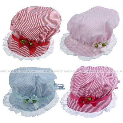 Infant Baby Girl Striped Ribbon Flower Bowknot Adjustable Sun hat Bucket Cap