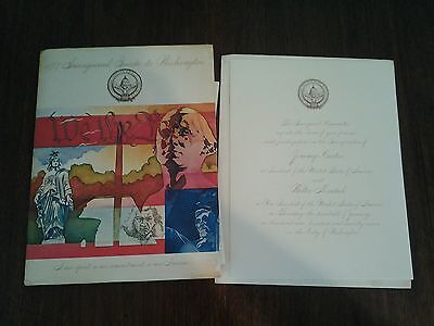 Lot Original 1977 Jimmy Carter Inauguration Invitation, Guide to DC,  Parade Map