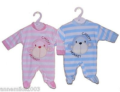 BNWT Gorgeous velour pink or blue cheeky monkey sleepsuit  0-3 m  3--6 m 6-9 mth