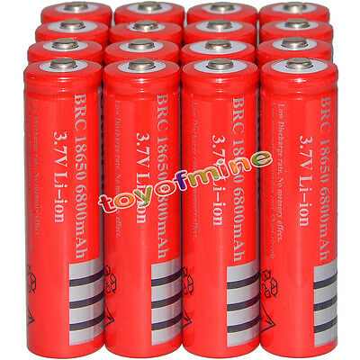 16x 3.7V 18650 Li-ion 6800mAh Red Rechargeable Battery for LED Torch