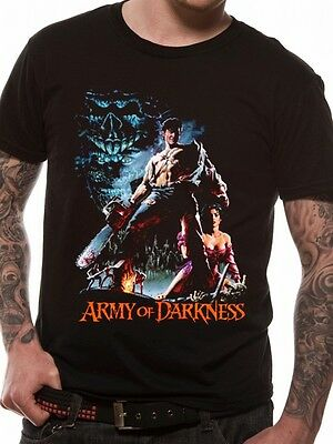 Army of Darkness Ash Bruce Campbell Smoking Chainsaw Black T-Shirt Evil Dead