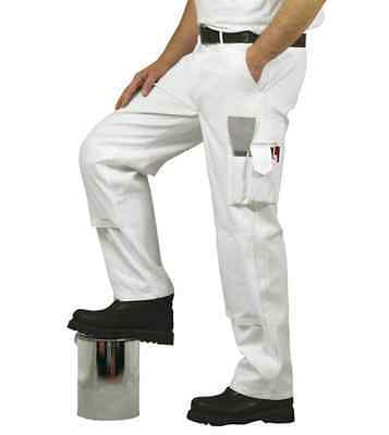 Quality White Cotton Painters Decorators Multi Pocket Trousers Knee Pockets