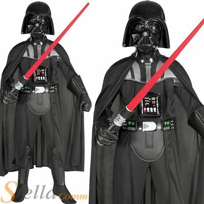 Boys Deluxe Darth Vader Costume Star Wars Kids Halloween Fancy Dress Outfit