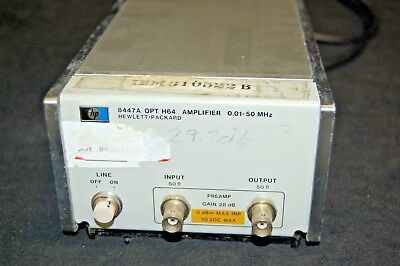 HP 8447A Option H64 Amplifier (0.01-50MHz, 50Ω, 28 dB, 10VDC)