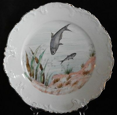 Antique Austria Porcelain China, White Hand Painted Fish Plate # 1