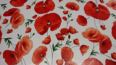 Poppies On White Vinyl Wipe Clean Pvc Tablecloth