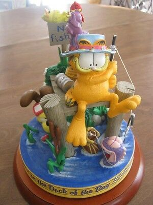 First Garfield Musical Figurine Collection Sitting on Dock of the Bay Music Box