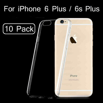 10Pcs / Lot Clear Case for iPhone 6 Plus / 6s Plus, Soft Transparent TPU Cover