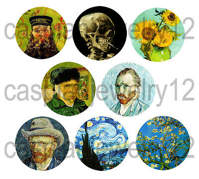 8 piece lot of Vincent van Gogh pins buttons badges